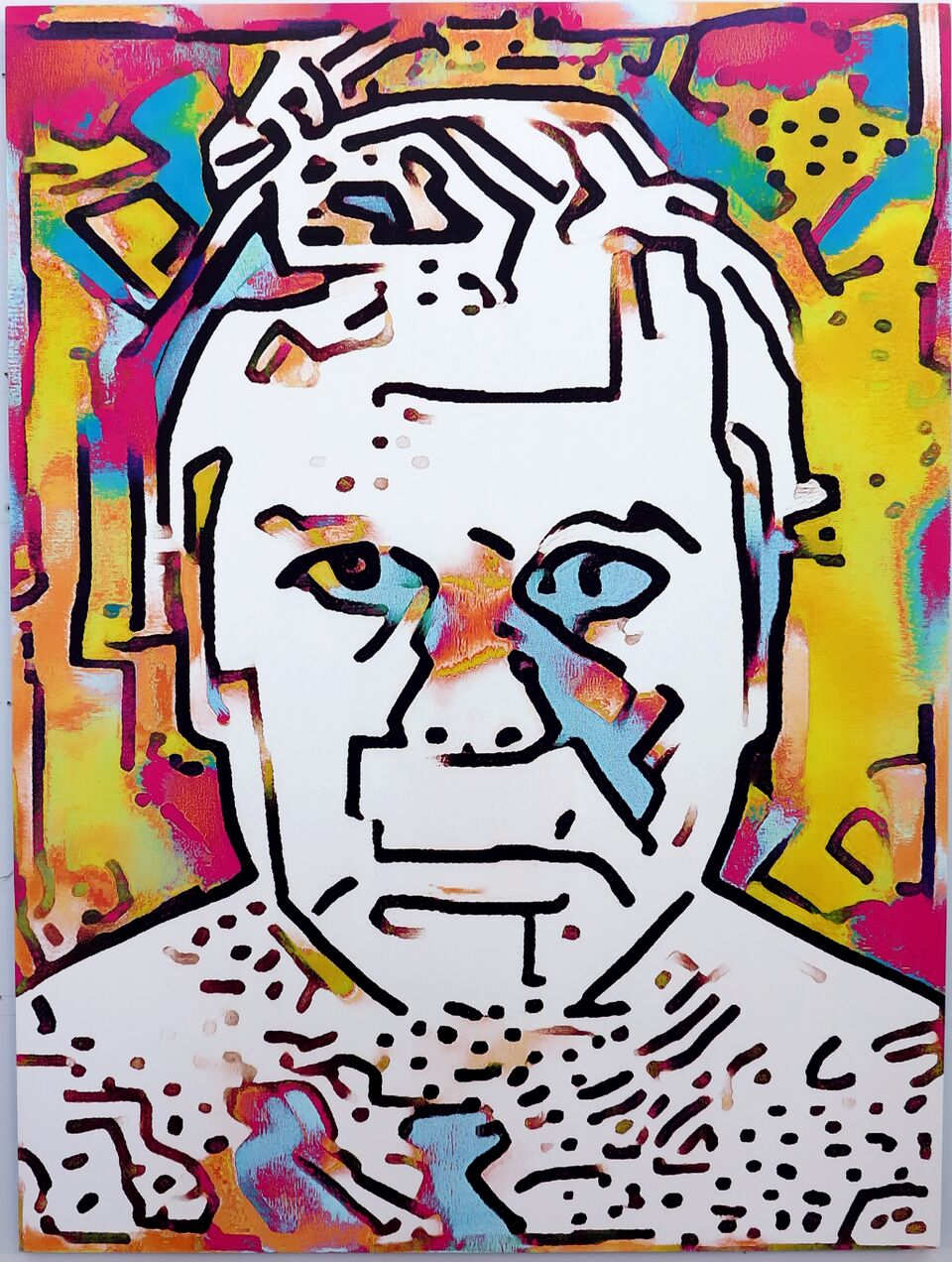 Artificial Intelligence Style Transfer Self-Portrait (Keith Haring & My Face)