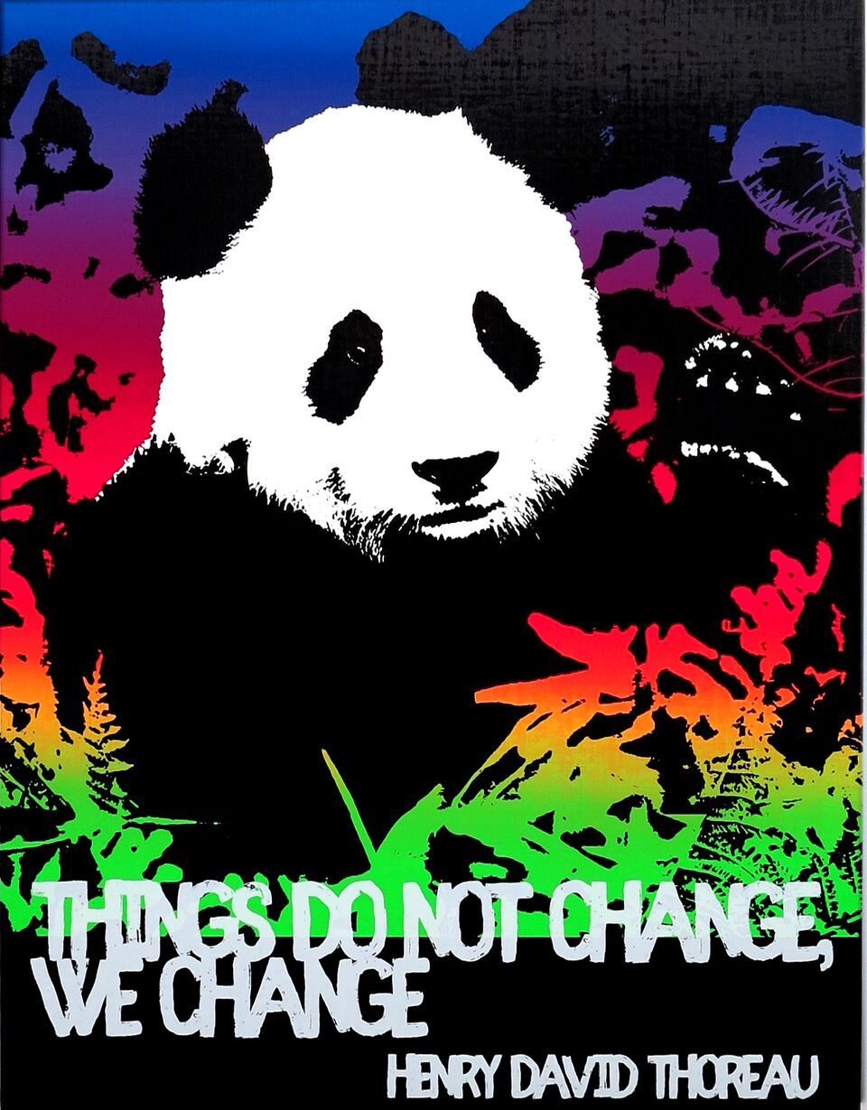 Motivational Panda (We Change, Henry David Thoreau)