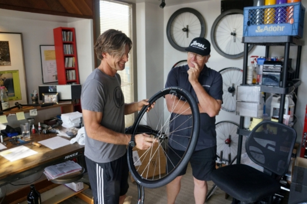 Mountain Bike Hall of Fame member Derin Stockton picking up his road wheel set