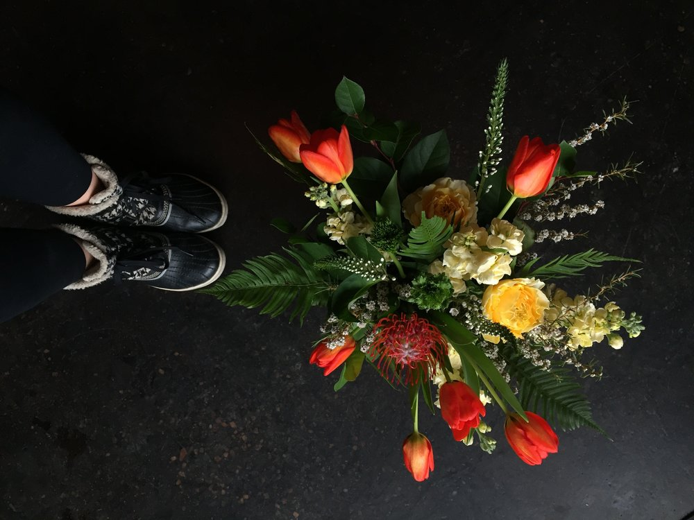 Snow boots + Flowers = love.