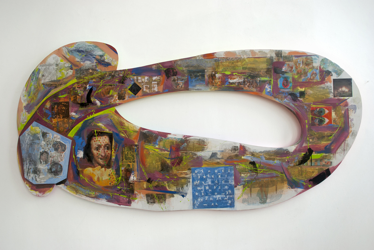 "Loophole, 91"" x 44 1/2"", 2016. Oil and mixed media on wood."