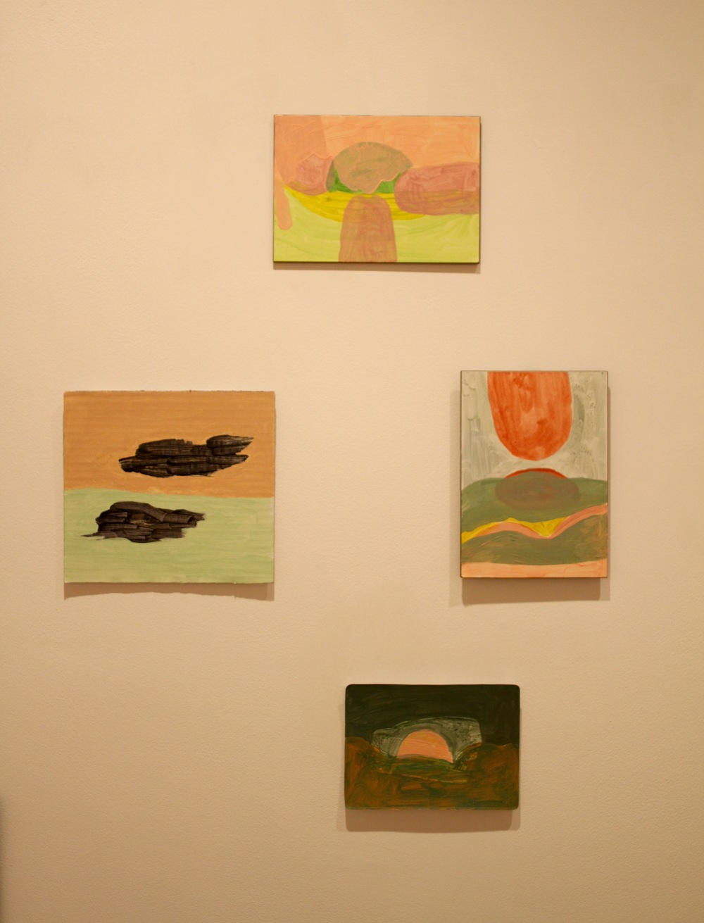"T. Tongues at work. 2015. Acrylic on Board (4 7/8""x 7"")  B. Pink bump. 2015. Acrylic on Cardstock (4 1/4""x 5 7/8"")  L. The cloud is dark. 2015. Acrylic on Cardboard (6 3/8""x 7 1/16""  R. Tongues rise. 2015. Acrylic on Board (7""x 4 7/8"")"