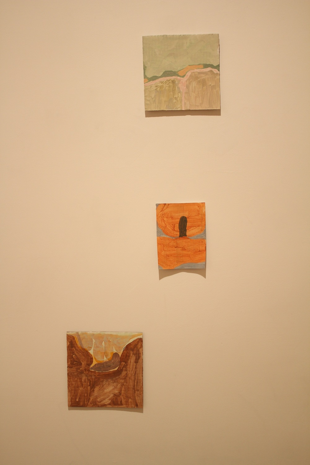 "T. Belge Plains. 2015. Acrylic on Cardboard (6 1/4""x 6 1/2"")  M. Insertion (spray tan scape). 2015. Acrylic on Paper (5 1/2""x 4 1/4"")  B. Wedged. 2015. Acrylic on Cardboard (6 5/8""x 6 5/8"")"