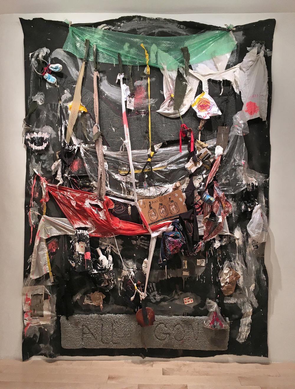 """Amnis Fluens, 2016 consumer byproduct, over burnt shaped carpet, suspended on felt 90"""" x 124"""""""