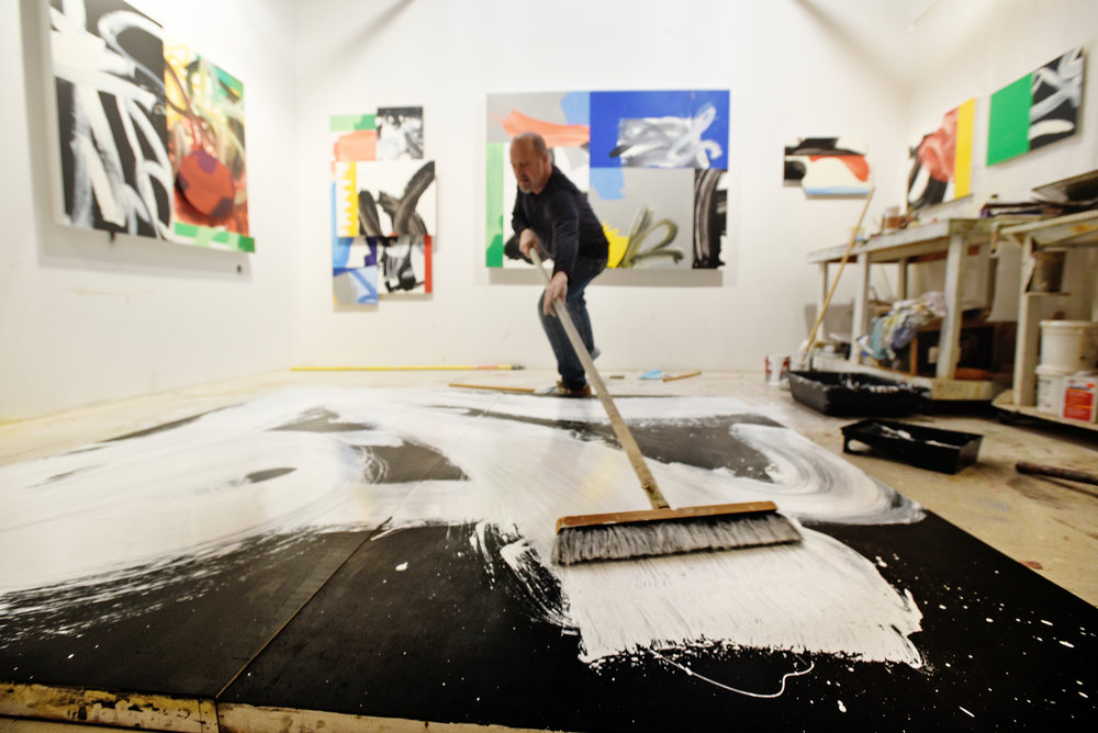 Tim Steele working in his Dumbo studio on a final piece for his solo show Building Into Painting