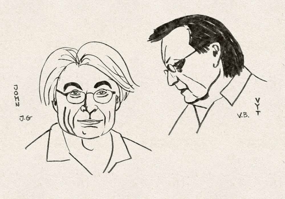 Vyt Bakaitis and John Godfrey, drawing by Laura Zavecka