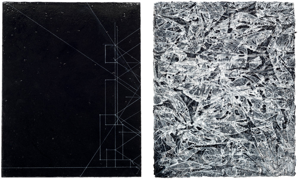 Bone Memory Diptych 2016-2017, acrylic and charcoal on panels