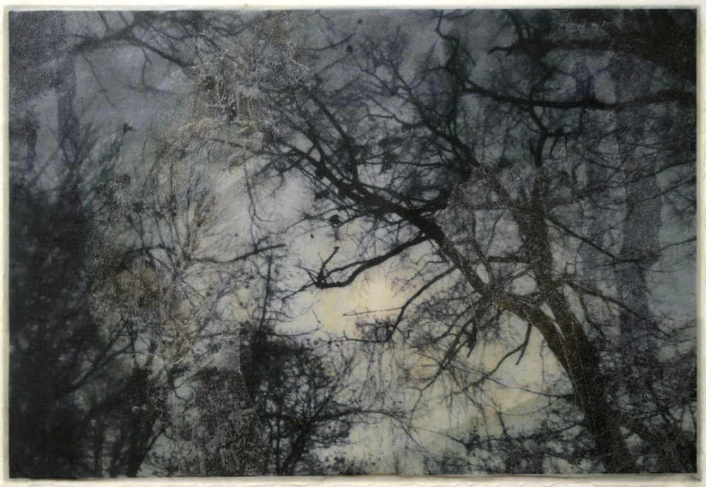 "Nijolė Kudirka  Moon Walk 1,  2017. 18"" x 22"". Photo encaustic"