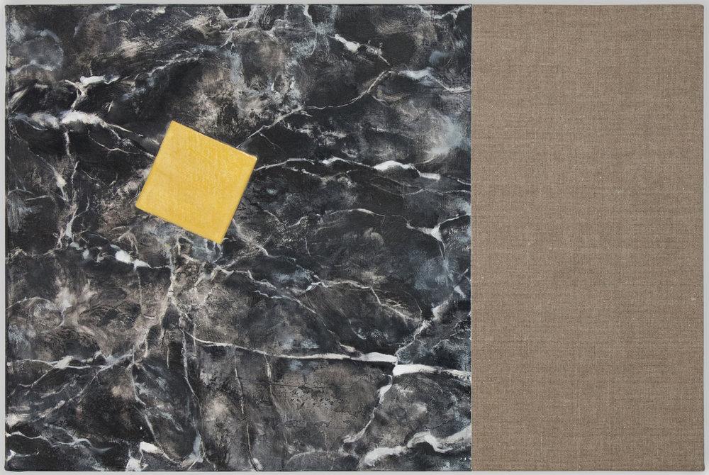 """Daina Mattis,  Kraft (Black Marble) , 2017. 16"""" x 24"""". Oil on linen mounted to board"""