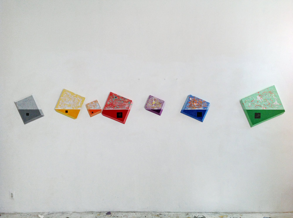 Julius Ludavicius,  Harmony/Homicide , 2018. Various sizes. An installation of 7 small, oil panels.The number o panels can be limitless