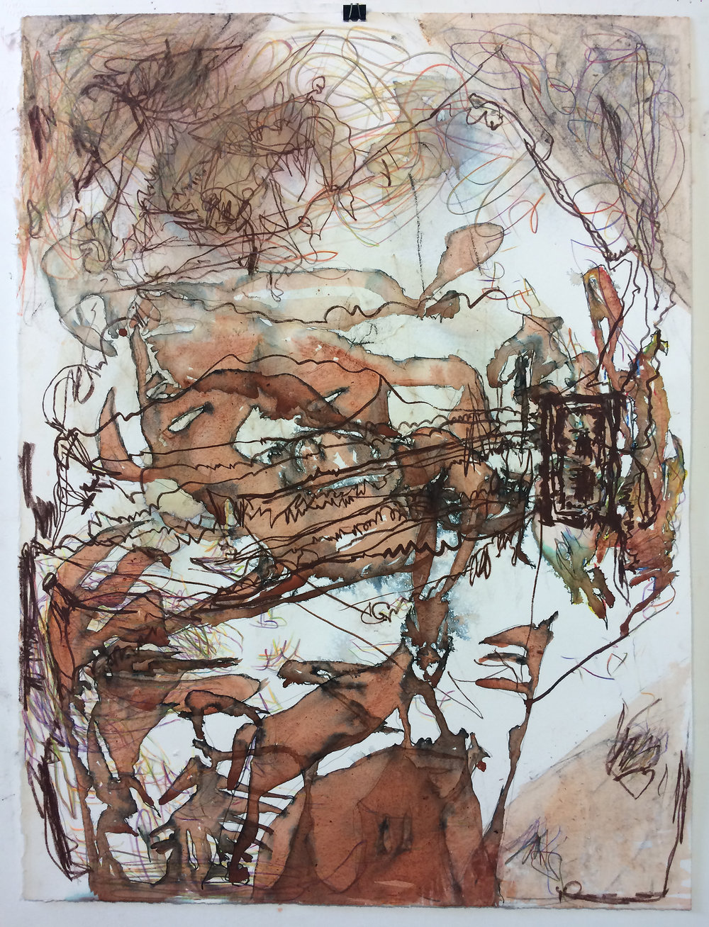 "Aidas Bareikis , The Death of the Young Wind,  2018. 30"" x 22"". Sanguine, sepia, marker, pencil"