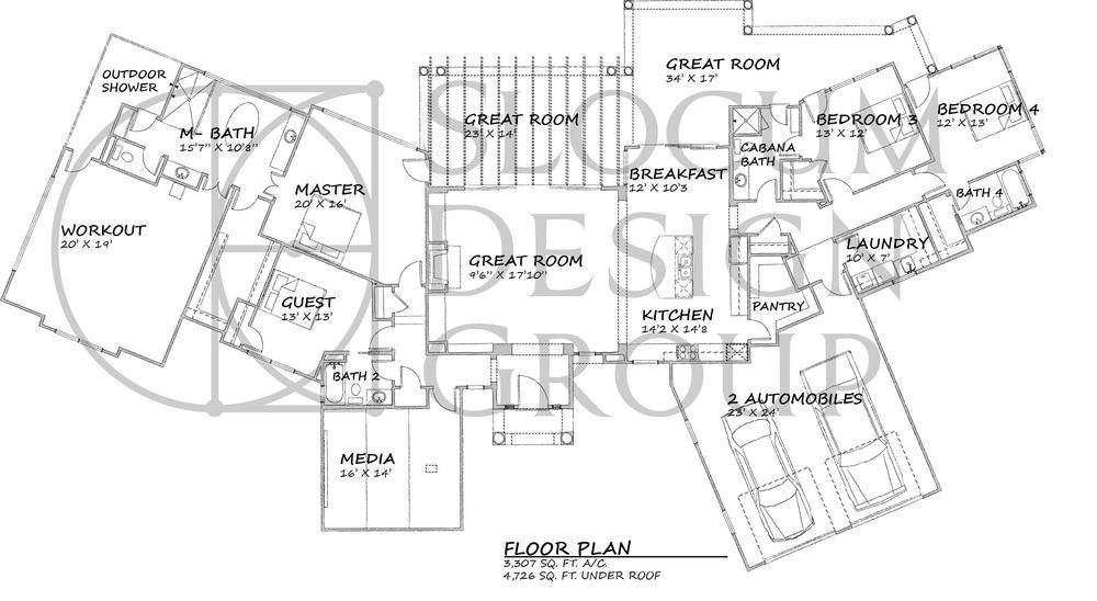 Single Level Mediterranean Floor Plan Concept.
