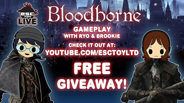 Today we will be streaming @fromsoftware_pr @Bloodborne_PS4  on @PlayStation come join us here at 4pm PST- https://www.youtube.com/esctoyltd we will have a special limited edition item giveaway!