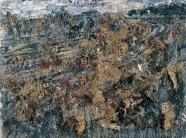 Die Meistersinger - Anselm Kiefer, 1982. I saw this painting for the first time pretty recently as my introduction to Kiefer's work and was completely blown away by it. The photo doesn't really do it justice because it's so rich with texture from the straw and paint used. I've been thinking about this picture a lot lately and I'm stuck indoors sick today, so I've just been reading up on Kiefer and watching the documentary about him. #anselmkiefer #sfmoma #sickday #cantputmyfingeronit