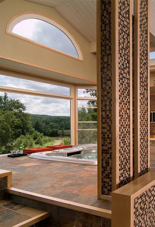 View from the jaccuzzi to the outdoor terrace that overlooks the nearby Chagrin River in Ohio.