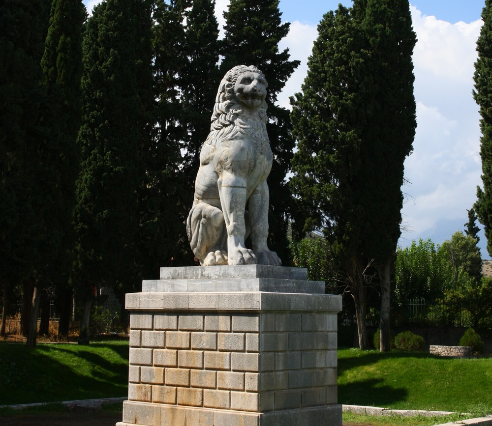 The Lion of Chaeronea was erected by the Thebans to commemorate the Sacred Band after their defeat at the Battle of Chaeronea.