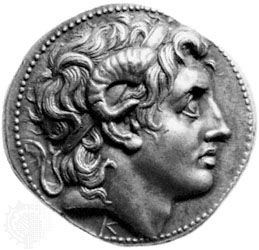 A silver coin produced under the reign of Lysimachus (297-281 BCE) which depicts Alexander the Great with the traits of Zeus-Ammon.