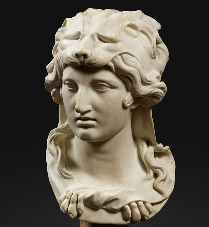 A bust of alexander wearing a herculean hat, artist unknown