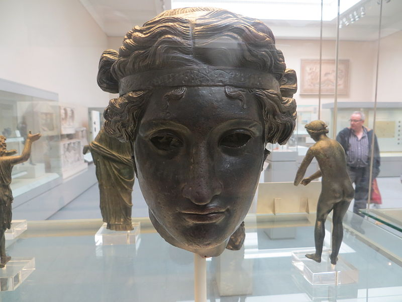 Bronze head of Dionysus, British Museum, 50 BCE - 50 AD