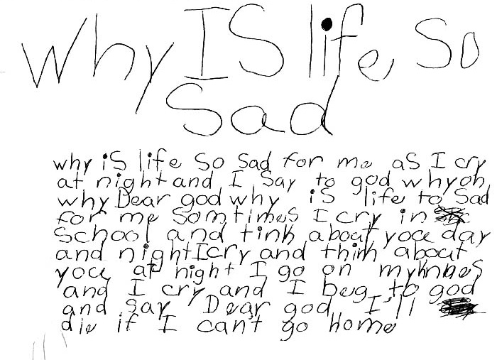 Anonymous writing from the journal of a foster child.
