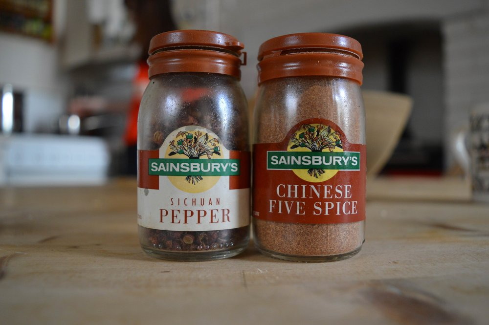 Examples of 1990s herb and spice packaging found in the back of the cottage cupboard. Out of date, but the Chinese Five Spice still packs a  punch.