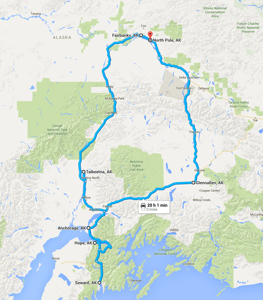 The route starting from Fairbanks, heading through North Pole, stopping in Denali National Park, heading to Glennallen, over to Anchorage, around to Hope, south to Seward, back up to Talkeetna and ending back in Fairbanks.