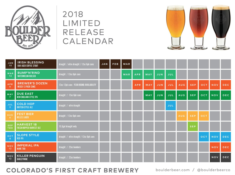 2018 Limited Release Calendar — Boulder Beer da2012094d699