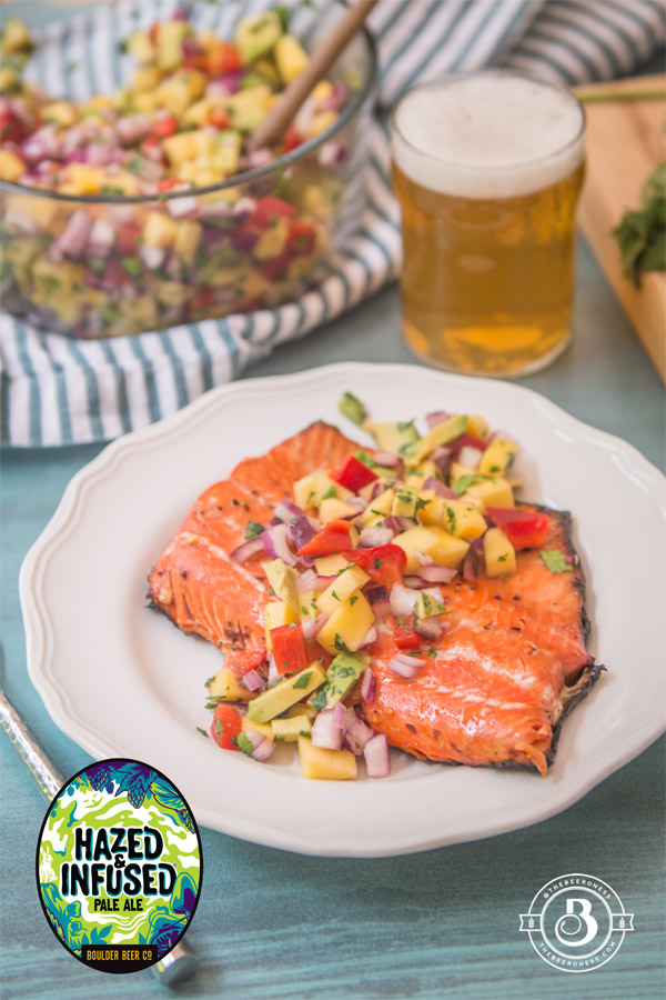 Honey Beer Glazed Salmon With Mango Avocado Salsa Boulder Beer