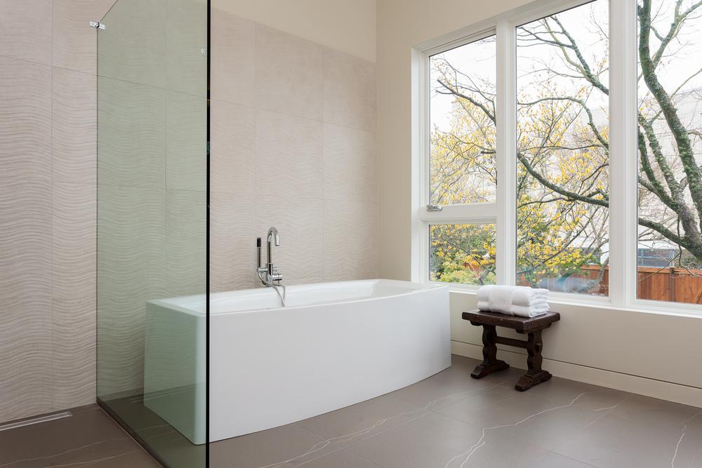 Spa-style bathroom in contemporary design-build home. Seattle, Washington