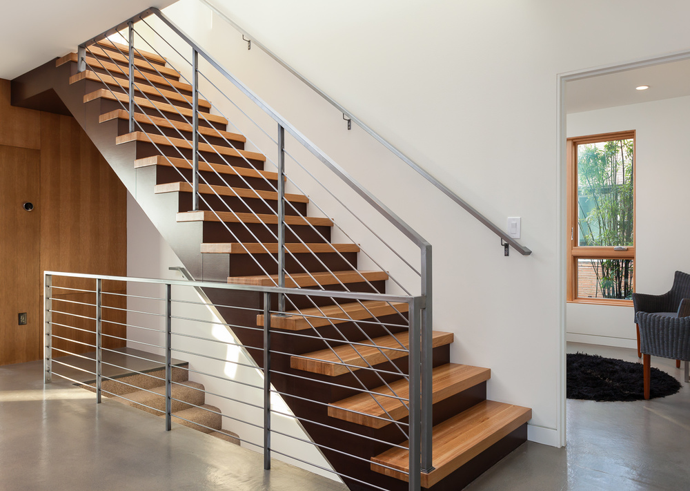 Central staircase in modern custom home. Seattle, Washington