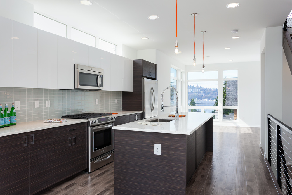 New construction open living space with Lake Union view. Seattle, Washington