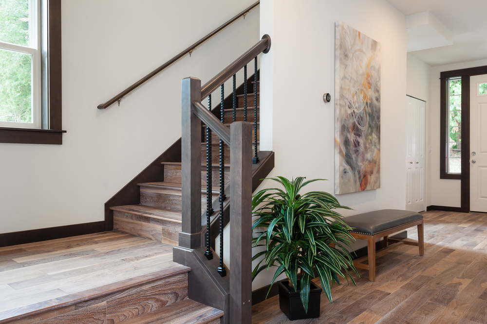 Entryway and staircase in new construction home. Woodinville, Washington