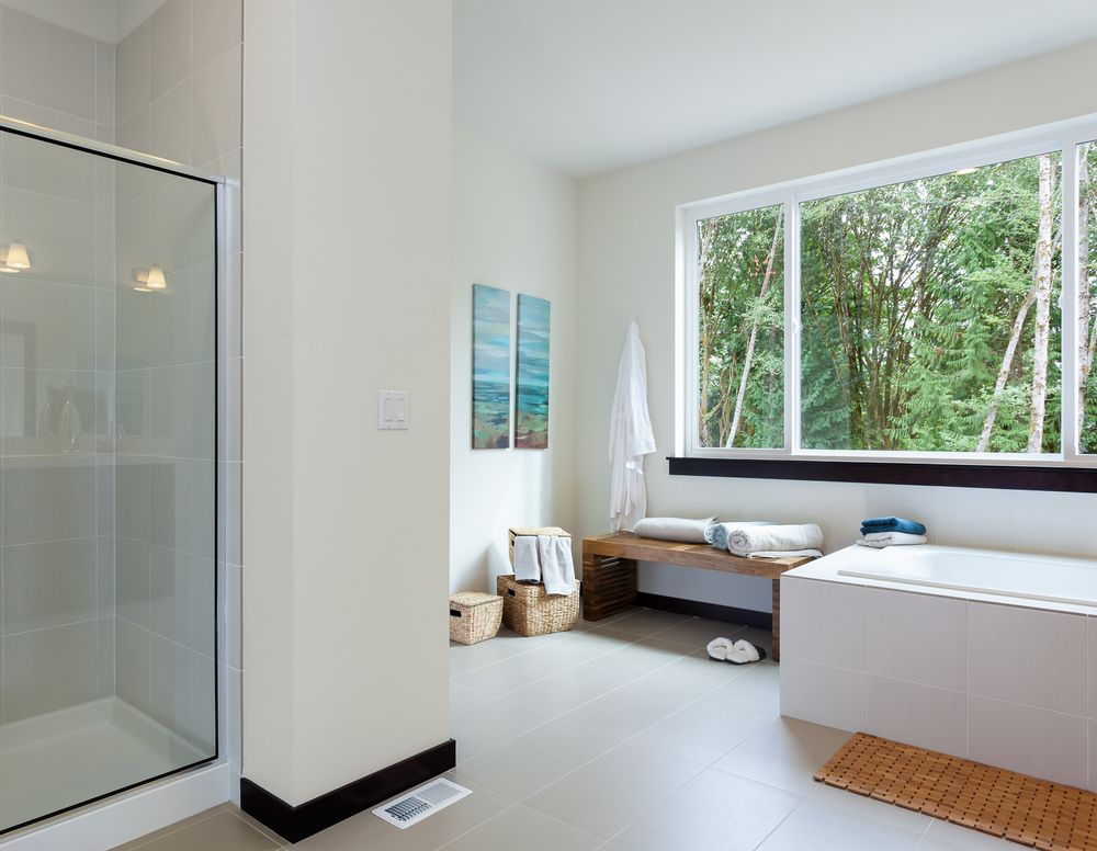 Spa-inspired master bathroom. New construction home. Woodinville, Washington