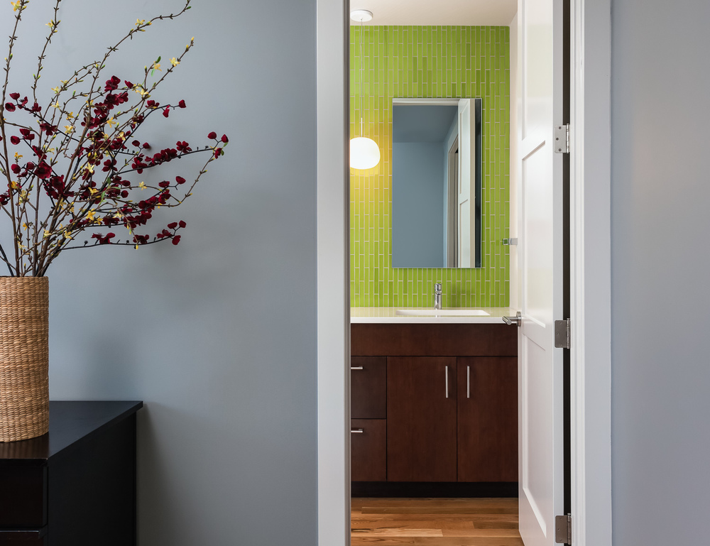 Guest bathroom. Modern residential design-build. Boulder, Colorado