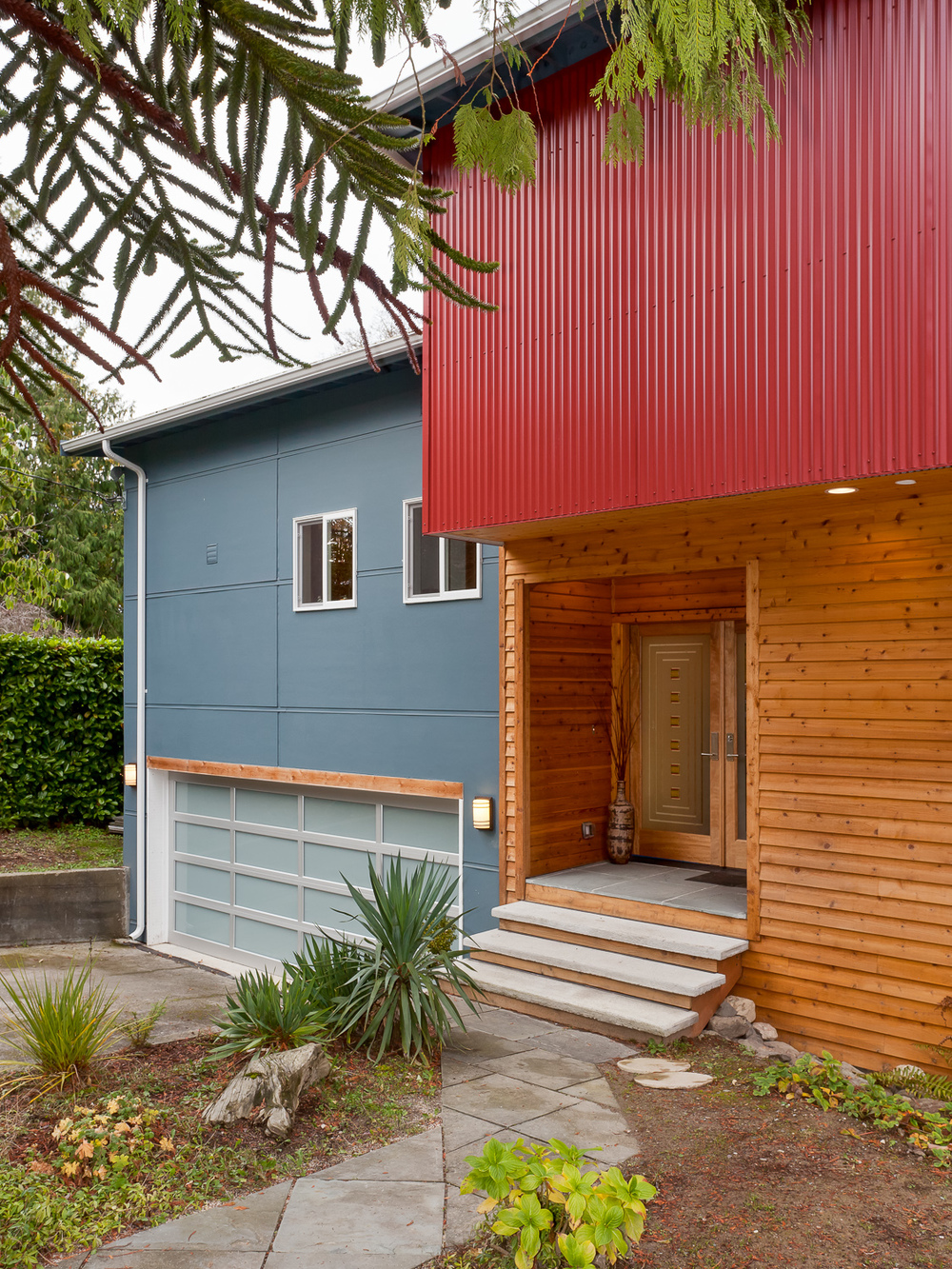Front facade of Built Green certified house remodel. Seattle, Washington