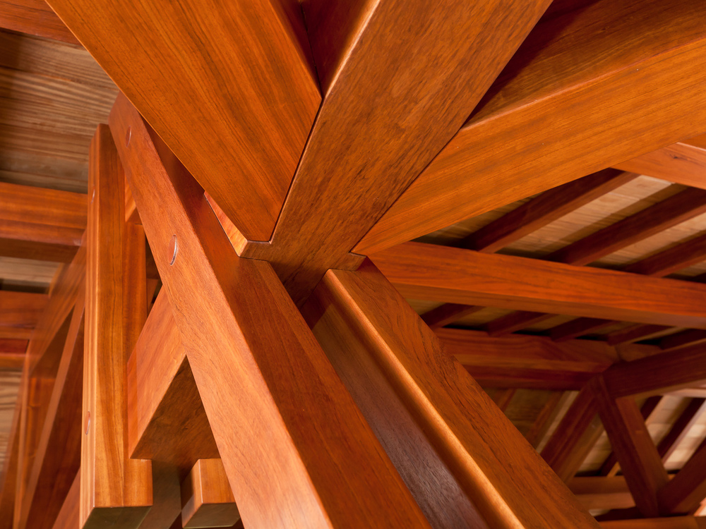 Bubinga wood truss ceiling supporting the roof of the pool room. Coval House. Mercer Island, Washington