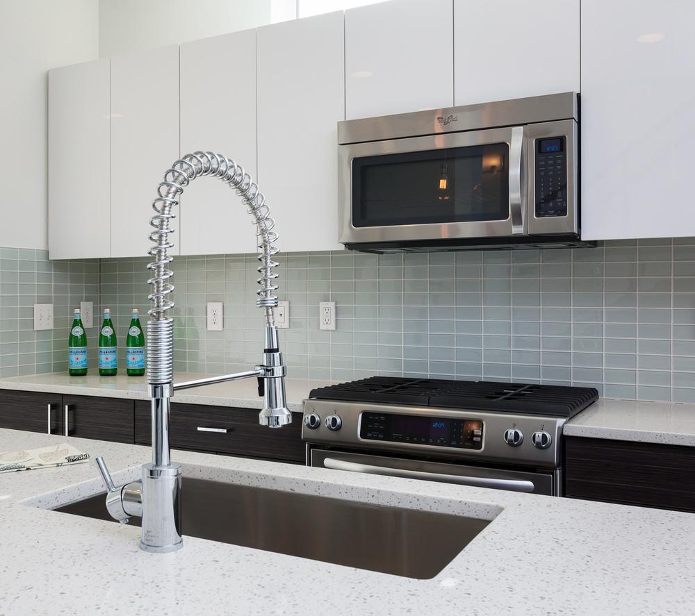 Contemporary new build. Polished quartz countertops, Wenge laminate cabinetry. Seattle, Washington