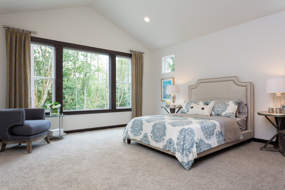 Master bedroom. New construction. Woodinville, Washington