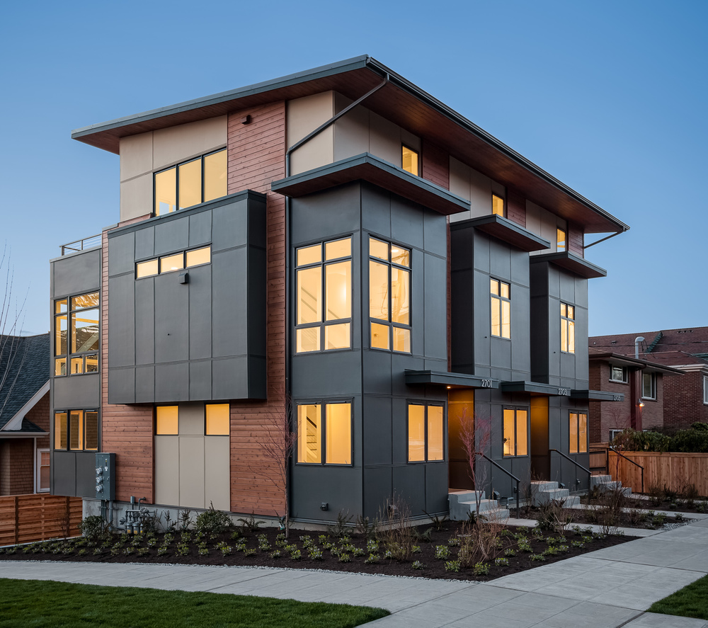 New construction triplex at twilight. Seattle, Washington
