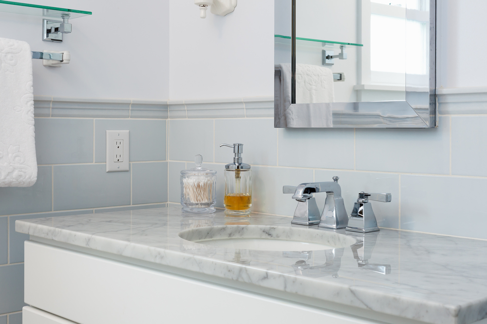 Bathroom remodel. Marble countertop. Seattle, Washington