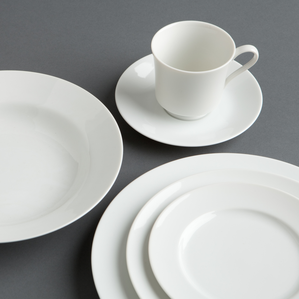 Bone China - A simple white china for weddings, rehearsal dinners, anniversary parties, galas and more, our Bone China is a long standing favorite with brides and grooms, non profit committees and Berkshire wedding venues.