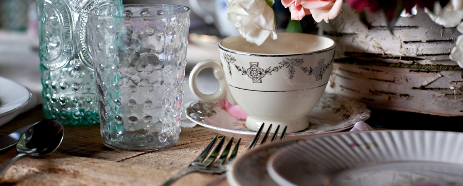 Vintage China, Vintage Hobnail Glasses, Rustic Farm-top Table.  Photo by Tricia McCormack Photography.