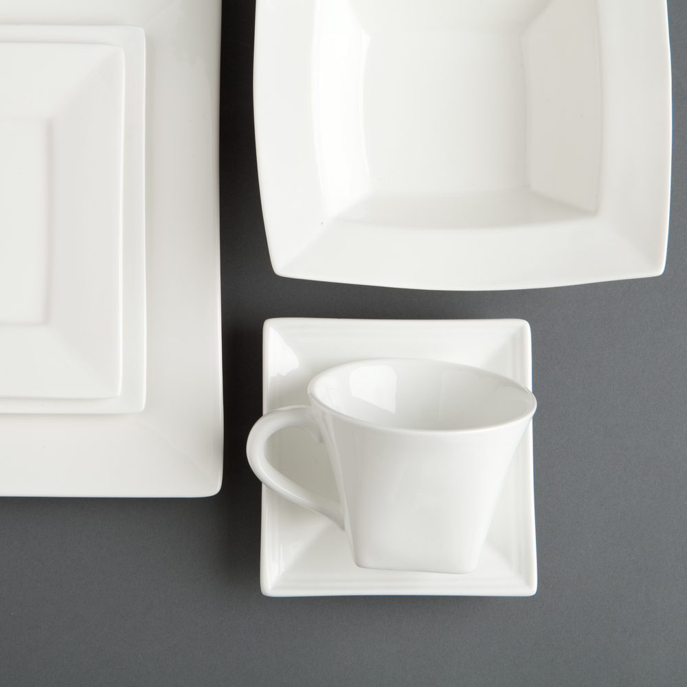 Quartet China - Pair this modern, square Quartet China with our Mod Flatware and you are well on your way to setting a table with a modern flair!