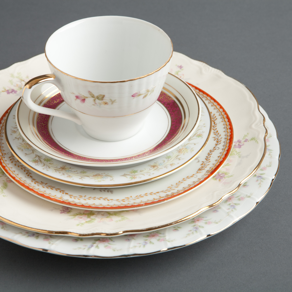 Vintage Mismatched China - Each piece of our delicate Vintage China is unique - we hand picked our vintage china from estate sales and antique stores all over the Berkshires!  You'll have so much fun mixing and matching them to set your wedding tables or working on place settings for your gala, rehearsal dinner, anniversary party and more!