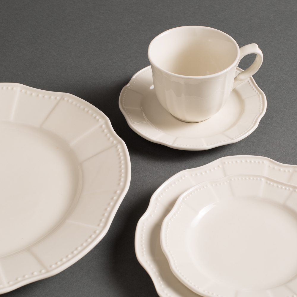 French Provence China - If you wedding is both rustic and elegant, this line of china with it's scalloped beaded edges might be for you! Soft in color, this ivory French Provence China was popular from day one!