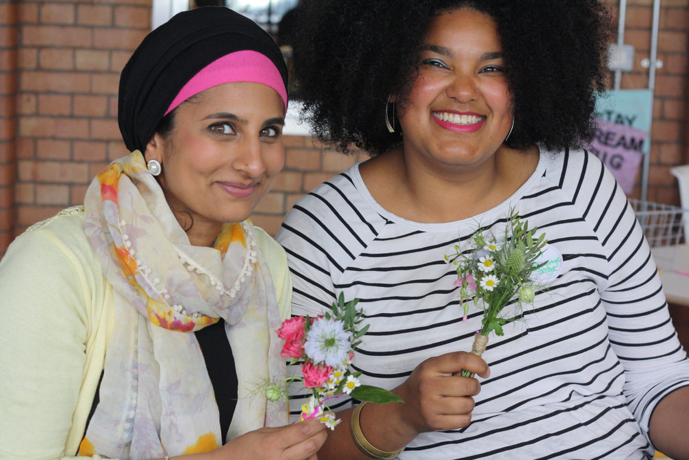 Shaheen Kasmani and Katy Acquaye-Tonge and their beautiful flowers.