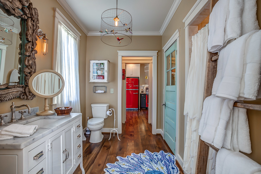 New renovations and decor offer a well thought out master bath in the Tin Roof Cottage | Pot N' Kettle Cottages