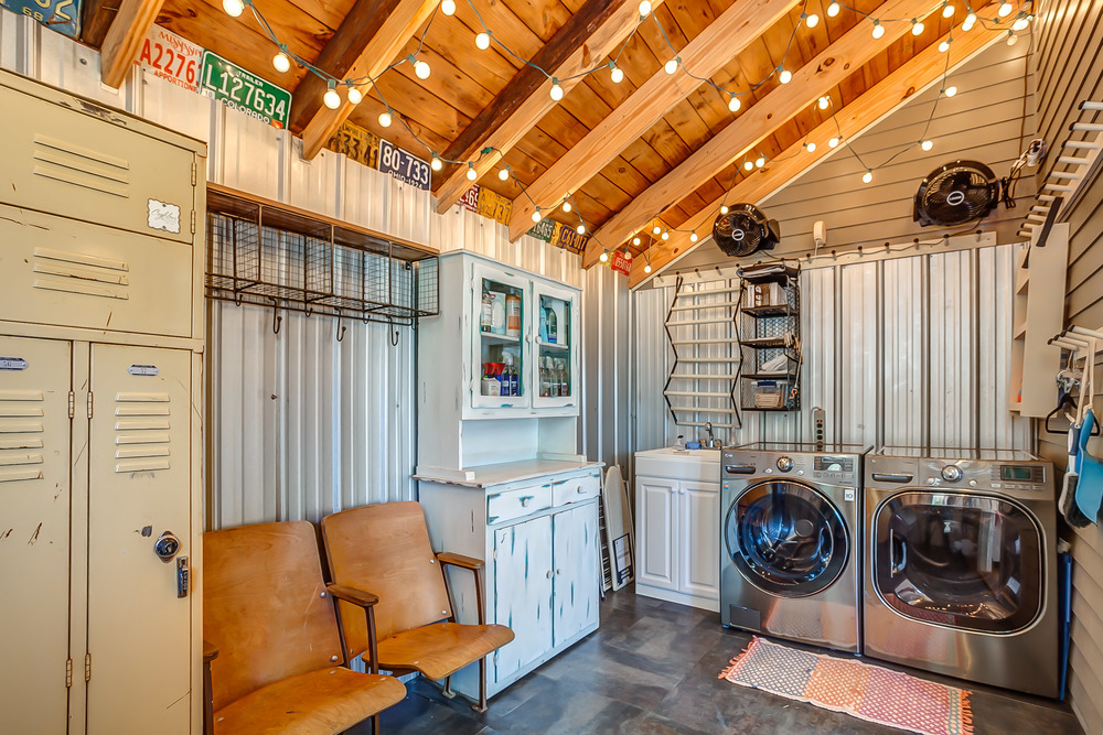 The laundry at the Tin Roof Cottage is large enough for storing extra vacation gear | Pot N' Kettle Cottages