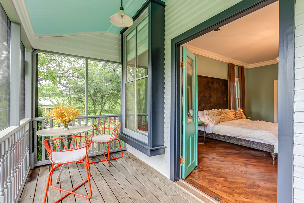 Private porch off the master suite at the Leiper's Fork Inn | Pot N' Kettle Cottages