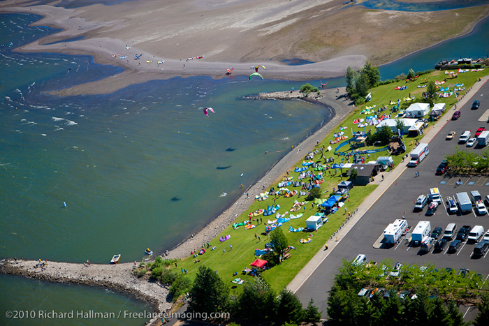 Hood River Event Site, from the bird, on Kiteboard 4 Cancer Saturday in July.